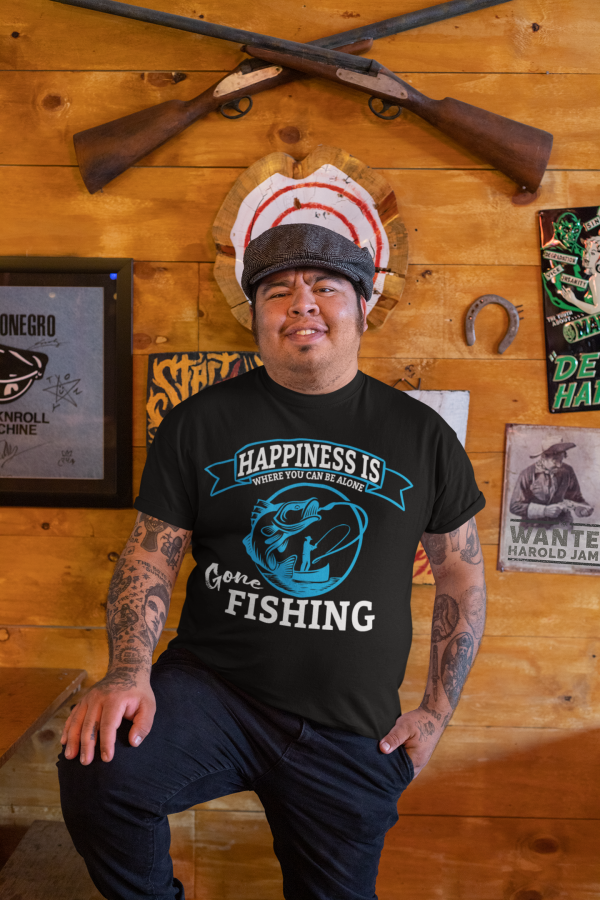 t shirt mockup featuring a happy man with tattoos posing at a bar 32853